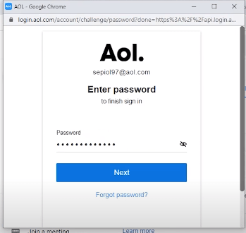 aol password of gmail setting
