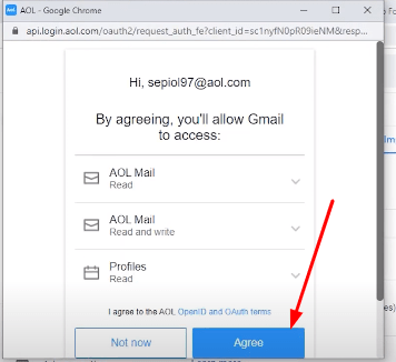 aol trems for gmail setting