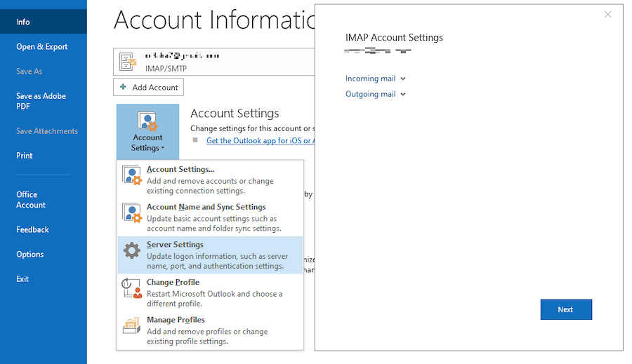 IMAP Aol mail setting for outlook