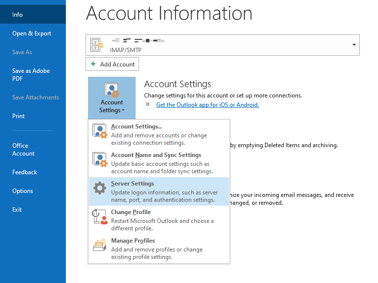 SMTP Aol mail setting for outlook