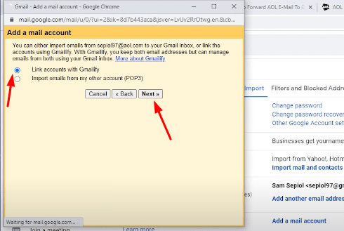 add mail account aol mail to gmail